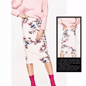 ❤️ZARA OFF-WHITE FLORAL PRINT PENCIL SKIRT